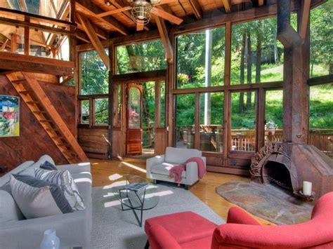 living room treehouse world of architecture tree house in the forest mill valley california