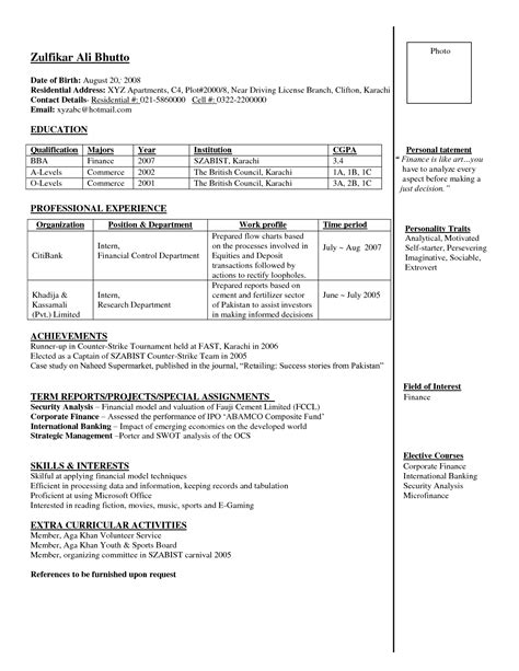 Sle Resume For Bank Freshers sle resume for bank for freshers 100 images buy
