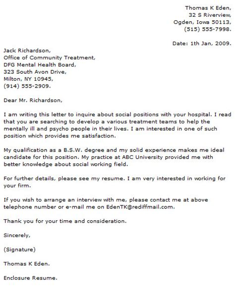 medical social work cover letter exles