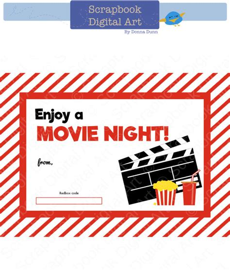 Printable Redbox Gift Cards - printable redbox gift card tag printable card movie night