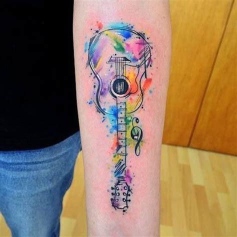 watercolor tattoo guitar tatto guitarra watercolor tatoo