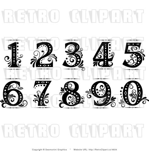 Vintage Tattoo Numbers | old cursive numbers fancy numbers clip art drawing
