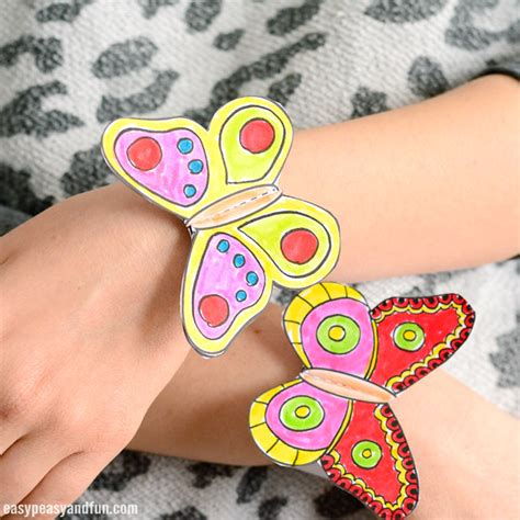 Butterfly Paper Bracelets For Kids Easy Peasy And Fun Paper Bracelet Template