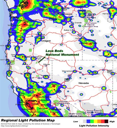 light pollution map washington sky maps and images lava beds national monument u