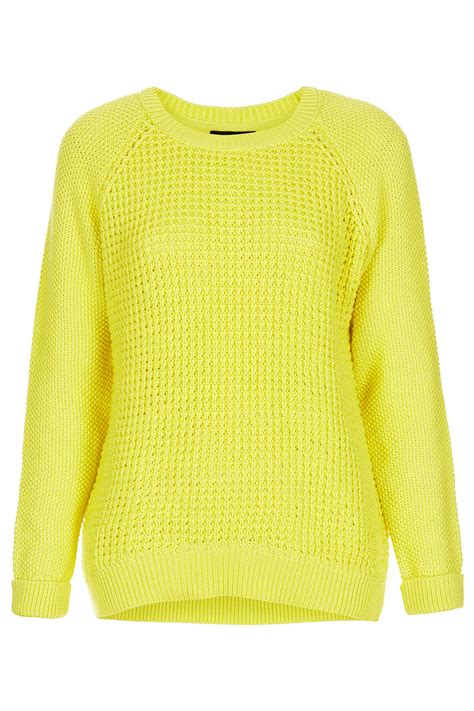 yellow knitted jumper topshop knitted mix stitch jumper in yellow bright yello