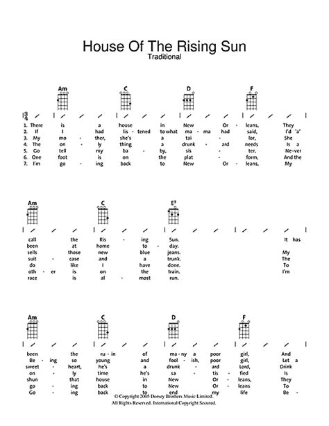Strumming Pattern House Of The Rising Sun | tablature guitare house of the rising sun de traditional