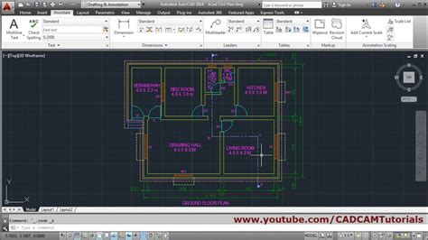 autocad floor plan tutorial  beginners  youtube