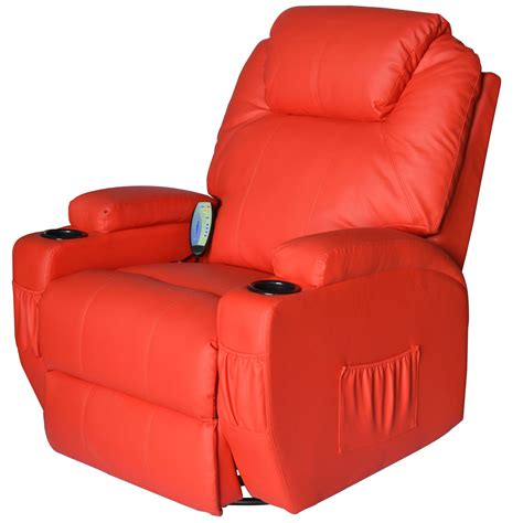 vibrating recliner homcom deluxe heated vibrating pu leather massage recliner