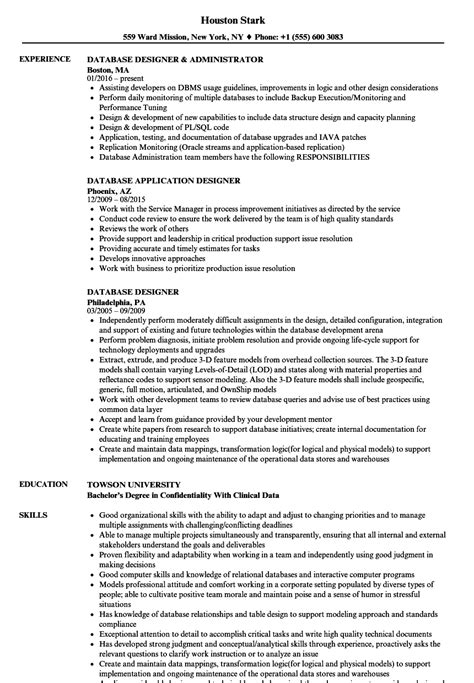 database designer resume sles velvet jobs