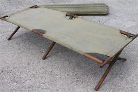 old folding camp cot, WWII vintage wood & canvas army cot