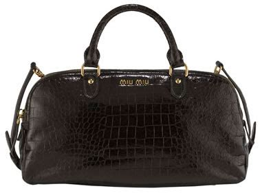 Miu Miu Crocodile Embossed Patent Purse by Miu Miu Crocodile Embossed Patent Satchel Fab Or Drab