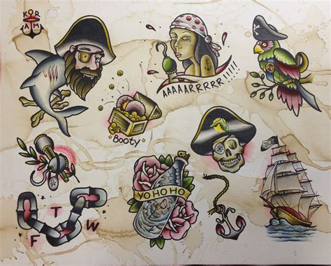 flash tattoo pirate flash sheet parrish