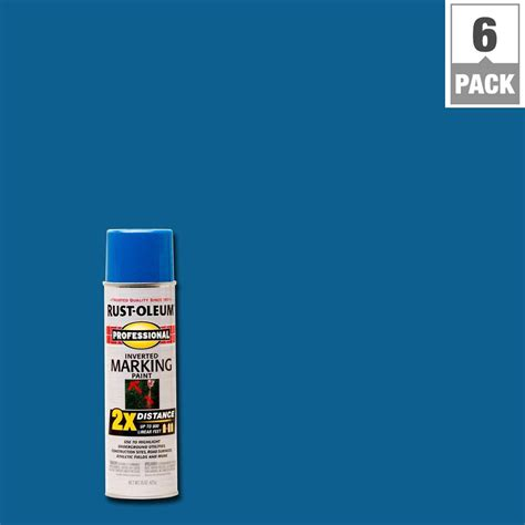 rust oleum professional 15 oz 2x caution blue marking spray paint 6 pack 266575 the home depot
