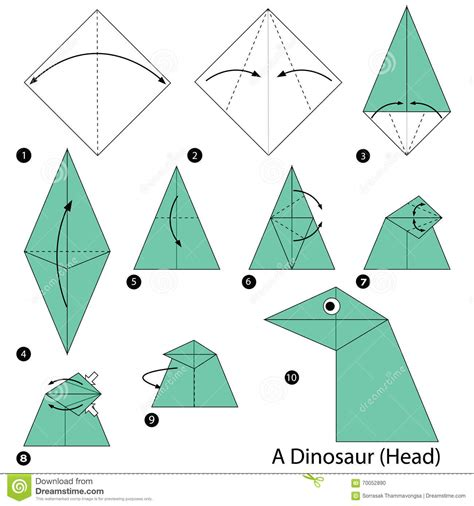How To Make Paper Dinosaur - step by step how to make origami a dinosaur