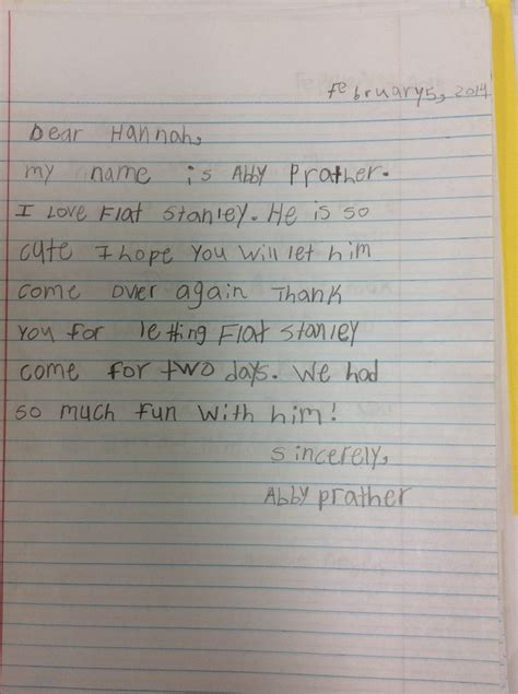 thank you letter to 5th grade letters from the 2nd grade flat stanley in kentucky