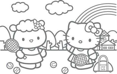 Hello Kitty Tennis Coloring Pages   pinto dibujos dibujo de hello kitty jugando tenis para