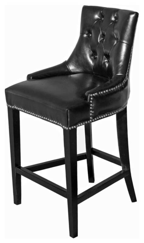black leather bar stools counter height tufted leather stool black counter height traditional