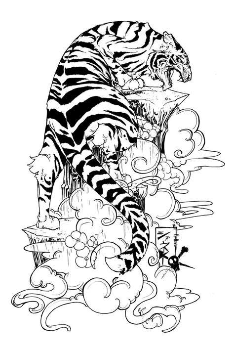 tiger tattoo design flowers and tiger design
