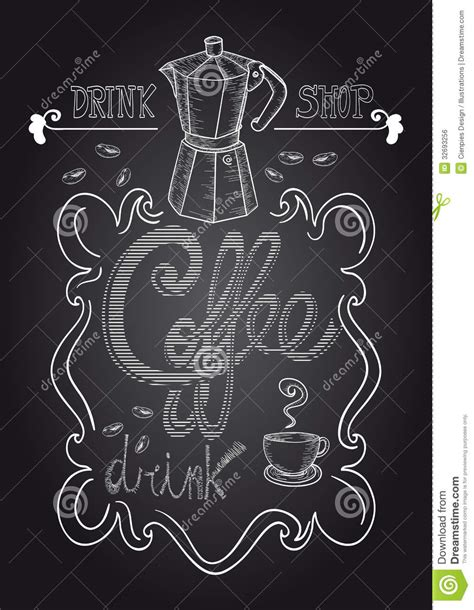 colour doodle drawing board chalkboard coffee shop illustration stock vector image