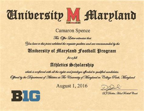 here s what a maryland football scholarship offer looks like baltimore sports report
