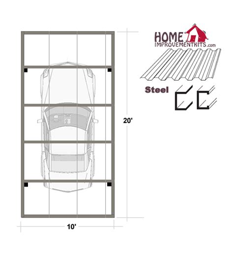 Single Car Carport Size Single Car Carport Kits Sale Save 20 10 X 20