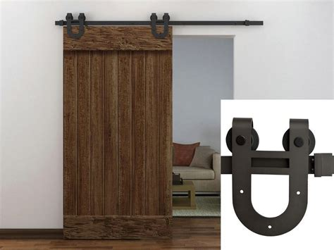 6ft Dark Coffee Antique Horseshoe Barn Wood Sliding Door Barn Door Track Hardware