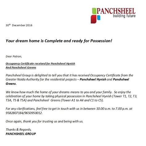 certification letter for occupancy panchsheel