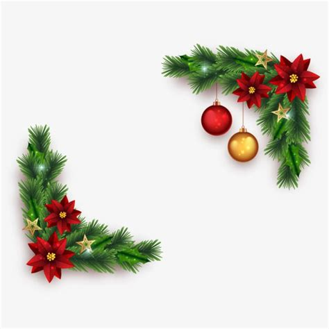 vector christmas border pine flower christmas elements png  vector  transparent