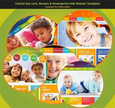 Colorful Day Care Nursery Kindergarten Kids Website Templates Entheos Playgroup Website Templates