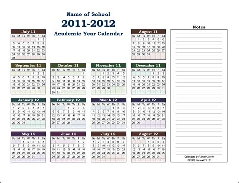 printable calendar academic school year calendar template printable calendar templates