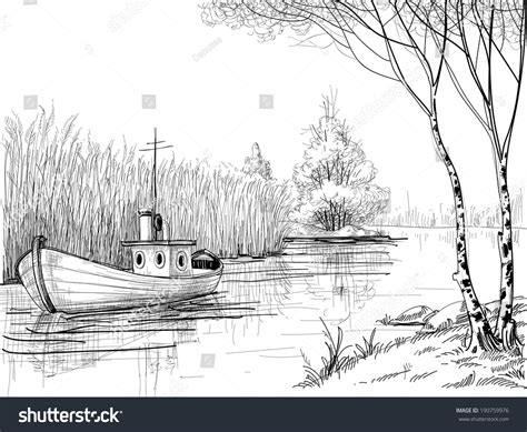boat in river drawing nature sketch boat on river delta stock vector 190759976