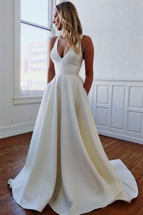 simple white satin long prom dress white evening dress