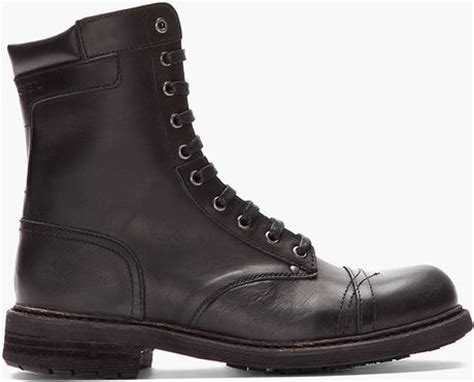 diesel black leather cassidy combat boots in black for