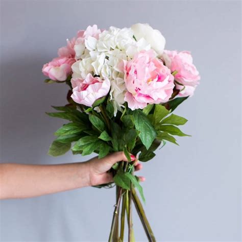 Peony Flower Hydrangea faux hydrangea and peony bouquet by deluxe blooms