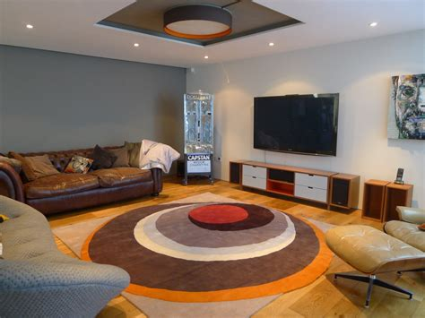 living lounge urban living room with colorful round mid century modern
