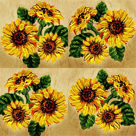 Primitive Country Home Decor Sunflowers Pattern Country Field On Wooden Board Painting