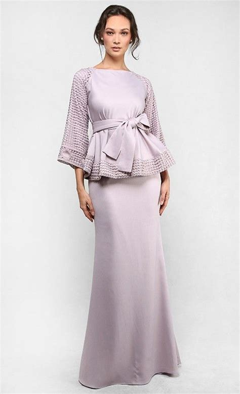 Aminah Dress Kurung the bell shape top with sash kurung in light taupe