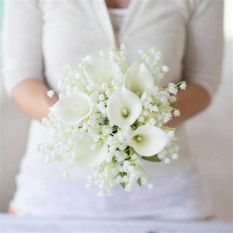Wedding Bouquet With Calla Lilies by White Real Touch Calla Wedding Bouquet