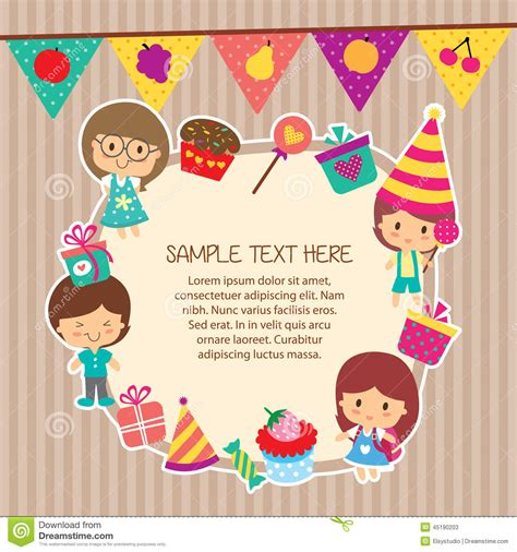 layout for birthday party kids party layout frame design stock illustration image
