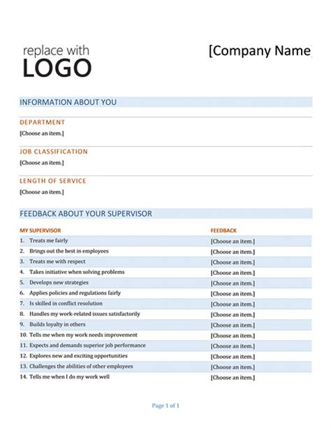project feedback form template surveys office
