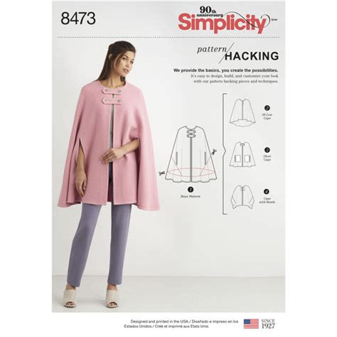 pattern hacker simplicity pattern 8473 misses capes with options for