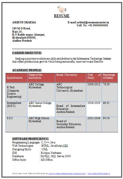 Resume Format For Engineers Freshers Computer Science 10000 cv and resume sles with free