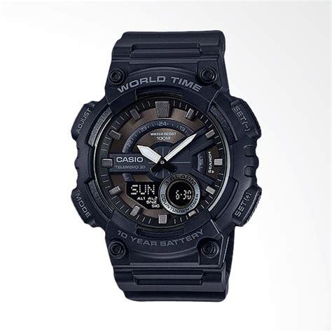 Jam Tangan Pria Casio Aeq 110w 1av jual casio standard jam tangan sport pria black aeq 110w