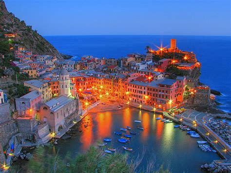 the lights ta lights by the sea vernazza italy in the cinque terre