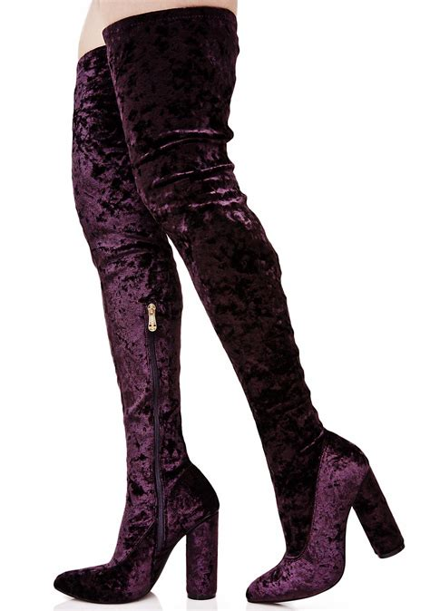 thigh high boots purple velvet thigh high boots dolls kill