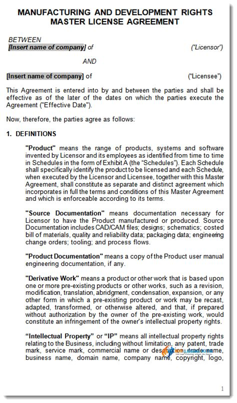 manufacturing agreement template free manufacturing and development rights contract template