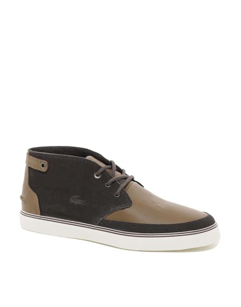 lacoste boots lacoste clavel chukka boots in brown for lyst