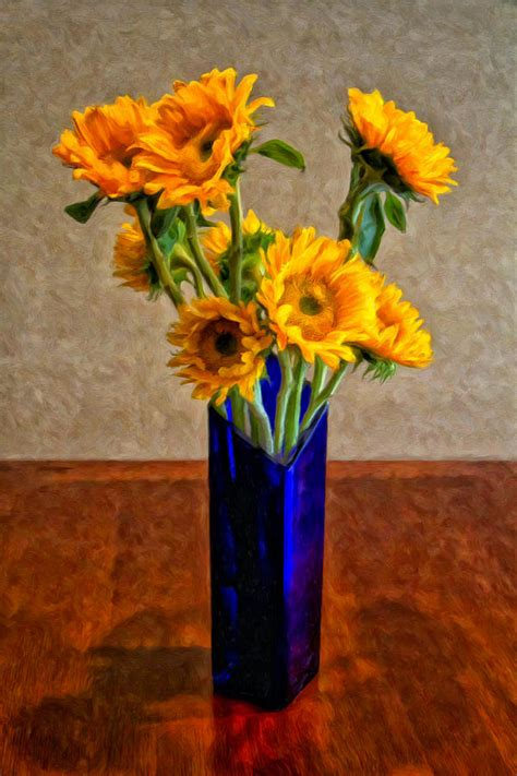 Sunflowers In Vase by Sunflowers In A Blue Vase Painting By Dominic Piperata