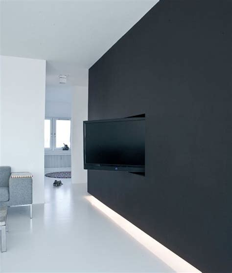Tv Wand Schwarz black tv wall designs