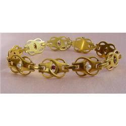 arts & crafts 18k ruby and pearl bracelet #1412871
